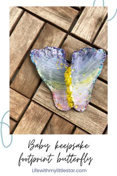 Easy Crafts, Crafts For Kids, Butterfly Shape, Baby Keepsake, Air Dry Clay, Fun Diy, Little Star, Footprint, Toddler Activities