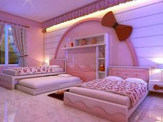 Kids Room: Modern Hello Kitty Girl Bedroom Decoration With Pink Tufted Headboard Trundle Bed And Hello Kitty Head Wall Decoration And Pink Wall Paint Design Ideas: Hello Kitty Decoration for Little Girls Bedroom