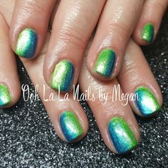 Fully sculpted gel nails. Green and blue chameleon! 2 colors of Amore Prisma FX were used to create these.  Love the result! #oohlalanailsbymegan