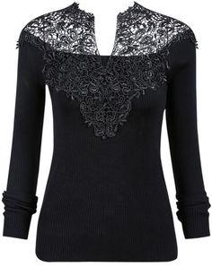 Black V-Neck Crochet Ribbed Sweater