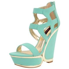 Dollhouse Mystic Wedge ($27) ❤ liked on Polyvore featuring shoes, sandals, heels, wedges, mint, sandals - high heel, women, open toe sandals, high heel platform sandals and high heel sandals