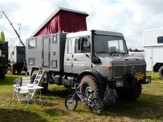 Unimog camper on Dutch unimog club meeting in Kootwijkerbroek.