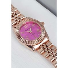Boohoo Megan Rose Gold Bracelet Watch ($16) ❤ liked on Polyvore featuring jewelry, watches, pink, christmas jewelry, rose gold watches, holiday jewelry, pink watches and pink gold jewelry