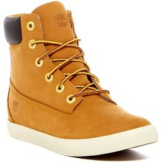 """Timberland Flannery 6"""""""" Boot (£53) ❤ liked on Polyvore featuring shoes, boots, wheat, lace up boots, laced up boots, timberland shoes, ortholite boots and timberland boots"""