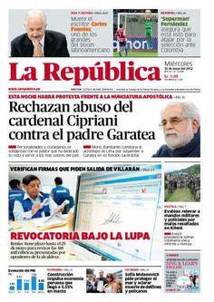 """En la TAPA de """"La república"""": Rechazan abuso del Cardenal Cipriani contra Garatea"""
