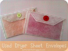 Sunny Vanilla: Upcycle: Used Dryer Sheet Envelopes