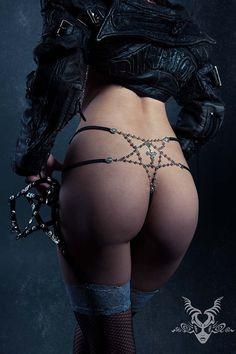 Rosary Pentathong Pentagram Thong Silver by DiktatorFashionLab