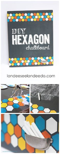 DIY Hexagon Chalkboard Tutorial {with BUILT IN Chalk Holder!} Step by Step Tutorial for a do it yourself artistic home decor project!