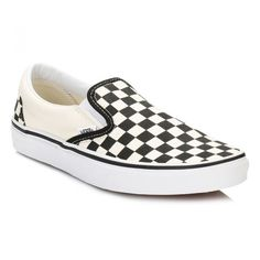 Classic Slip On Black And White Checkboard Canvas Trainers ($57) ❤ liked on Polyvore featuring shoes, sneakers, white and black sneakers, black and white shoes, black and white slip on sneakers, slip-on shoes and black and white trainers