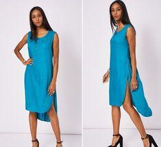 Teal Blue Summer Midi Beach Dress High Slits Size 10 12 14 Cover Up Kaftan NEW Teal Blue, Kaftan, New Outfits, Beachwear, Kimono, Cover Up, Size 10, Clothes For Women, Summer