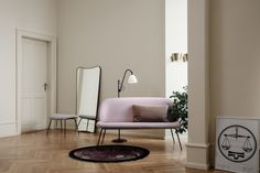 GUBI // Beetle Sofa, BL3 Floor Lamp, F.A.33 Mirror, Beetle Ottoman, 9464 Wall Lamp