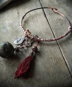 Tribal gypsy choker necklace with Buddha amulet by quisnam on Etsy