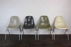 4x-EAMES-DSS-CHAIRS-HERMAN-MILLER-STACKING-BASE-50s-60s-UMBER-GREY-GREIGE-DSW
