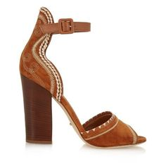 Sergio Rossi Dahila suede sandals ($331) ❤ liked on Polyvore featuring shoes, sandals, tan multi, tan sandals, suede sandals, tan block heel sandals, suede leather shoes and bohemian sandals