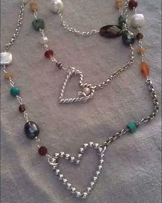 Semi precious stones turquoise pearls chain and silver hearts...