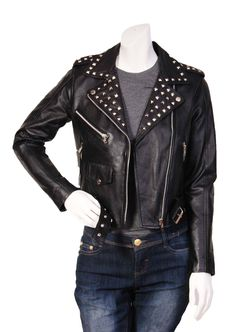 Latest Ladies Studded Cropped Biker Style Fitted Leather Jacket Salma Black (10): Amazon.co.uk: Clothing
