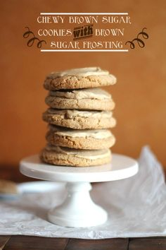 Chewy Brown Sugar Cookies with Brown Sugar Frosting | Cookies and Cups