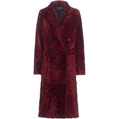 JOSEPH Blazz Coat Velvet Ruby // Lamb fur coat (29.803.950 IDR) ❤ liked on Polyvore featuring outerwear, coats, joseph's coat, slim coat, slim fit coat, purple fur coat and purple coat