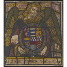 Drawing of a stained glass window - Angel holding the shield of William Herbert K.G., 3rd Earl of Pembroke. Sydney Eden. Angel holding the shield of William Herbert K.G., 3rd Earl of Pembroke. c.1630 stained glass from Lincoln's Inn Chapel, Holborn.