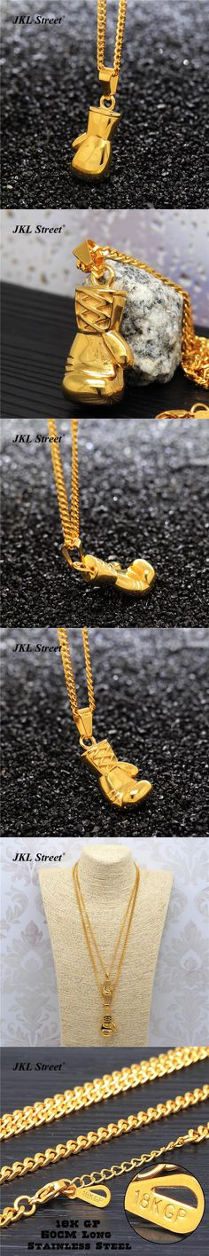 """Men's  Stainless Steel Gold Boxing Glove Vintage 3D Charm Pendant w/3mm 24"""" Cuban Chain Hip Hop Necklace Birthday Gift JF2283"""