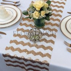 Gold and White Chevron Sequin Table Runner Wedding by floratouch