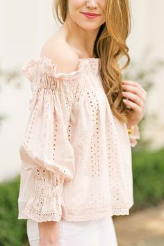 eyelet off the shoulder top | a lonestar state of southern