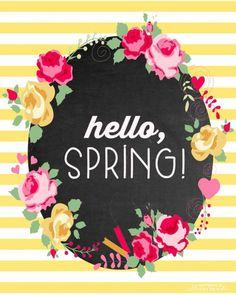 Hello Spring Free Printable via Happiness is Homemade