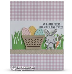 CARD Super cuteness alert! An Easter Treat for Somebunny Sweet card from the new Stampin Up Basket Bunch stamp set and coordinating Basket Builder framelits. Th