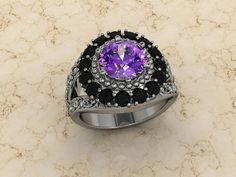 Amethyst ring / Antique engagement ring / Black diamond engagement ring on Etsy, $2,375.00