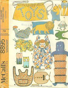 McCalls 8895 1960s 25 Item Bazaar Boutique Craft Pattern Apron Clown Doll   by Pattern Gate    A. Toy Bag   B. Fish bath mitt  C. Walrus bath mitt  D. Chicken pillow    E. Lion pillow    F. Humpty-Dumpty bean bag   G. Frog bean bag    H. Elephant pajama or curler bag   I. Elephant eyeglass case    K. Clown laundry bag    L. Dog shoe bag    M. Apron  N. Bib  O. Skate tote  P. Record tote    Q. Coin purse    R. Bonnet   S. Sunbone by patterngate.com