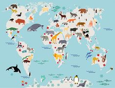 Canvas Large Wall Art - Animal World Map for Kids Room - Nursery World Map Print - World Map for Kids and Baby Room - Kids Room Wall Decor Kids World Map, World Map Art, World Map Canvas, World Map Poster, Nursery Canvas, Nursery Art, Nursery Decor, Playroom Decor, Kids Decor