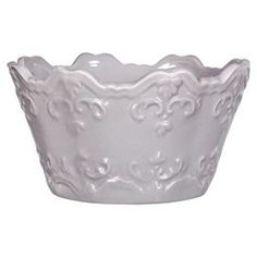 "Embossed ceramic soup bowl in gray with a scalloped edge and scrolling motif.  Product: Soup bowlConstruction Material: CeramicColor: Gray Dimensions: 3"" H x 6"" Diameter"