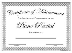 Piano Recital certificate