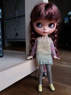 Blythe panenka ručně pletená dlouhá můstek / šaty