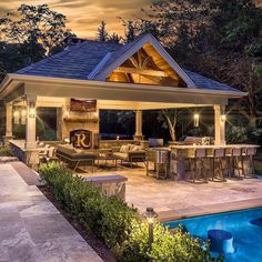 Amazing Outdoor Design Ideas with a Gazebo And Cabana – Outdoor And Patio Ideas, Designs and DIY Plans. Backyard Pavilion, Outdoor Pavilion, Backyard Patio Designs, Pool Gazebo, Outdoor Cabana, Pergola Roof, Outdoor Kitchen Patio, Outdoor Kitchen Design, Outdoor Rooms