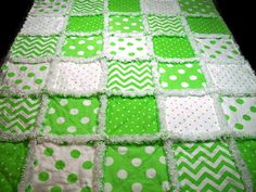 Baby Rag Quilts White and Lime Green Dots and Chevron Handmade by LoveableQuiltsNMore