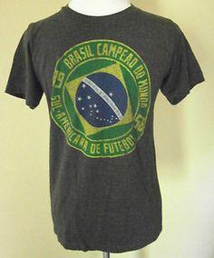 Mens Size S Unitas Brazil Futebol Soccer T Shirt, Gray, Cotton/Poly, Preshrunk VGC. $6.99
