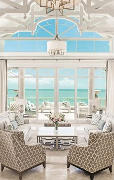 The Shore Club, Turks & Caicos. Resort guest room living room.