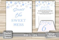 Winter Blue Baby Shower Sweet Mess Game - Printable Guess The Sweet Mess Activity with Snowflakes Blue for Boy - Instant Download - sb2 by DigitalitemsShop on Etsy