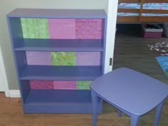 Spray painted shelf and night stand for my daughter's room! #modpodge #prettypaper