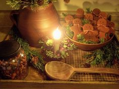 Cathy's Craft Corner: A Primitive Christmas vignette Primitive Christmas Decorating, Prim Christmas, Christmas Kitchen, Country Christmas, Winter Christmas, All Things Christmas, Vintage Christmas, Christmas Holidays, Christmas Crafts