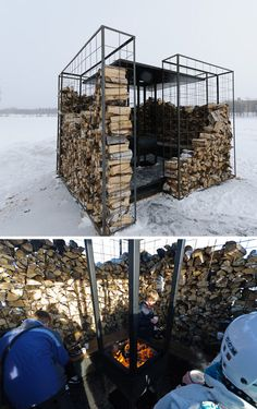 'Woodpile' Cabin: Log-Lined Fire Pit = Four-Season Shelter