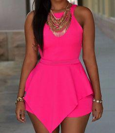 Women's Elegant Black Or Pink Sleeveless Romper