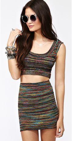 Cosmic Crop Tank and Skirt. NastyGal.com