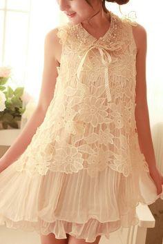 Sleeveless Crochet Pleated Lace Dress