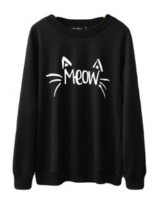 Halife Women's Cute Cat Face and Meow Letter Print Sweatshirt (XL, Black)