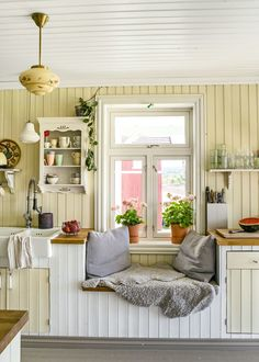 Modern Nursery Theme // Pro Pregnancy Planner // Pops of Bright Color {one} neutral backdrop / {two} splashes of bold color / {three} forward thinking / {four} avoid babyish decor Swedish Kitchen, Swedish Cottage, Scandinavian Kitchen, Country Kitchen, Old Kitchen, Vintage Kitchen, Small Cottage Interiors, Sweet Home, Yellow Interior
