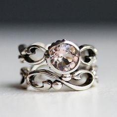 Pink morganite engagement ring set - bezel solitaire - recycled sterling silver wedding band