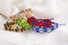 Macrame woven bracelets with wooden, glass and ceramic beads. Woven Bracelets, Ceramic Beads, My Works, Macrame, Ceramics, Glass, Creative, Fabric Bracelets, Ceramica