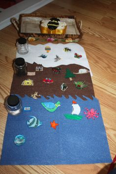 Land, water, air is a simple work for 3 year olds. They first arrange the felt mats, then add the matching bottles and labels. Finally they place the objects in the correct environment. Older children can extend this work by drawing pictures and labeling the objects. I love the bee box that I found at Goodwill. I made the objects from pictures and felt.